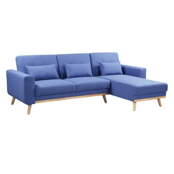 BACKER Καναπές - Κρεβάτι Σαλονιού - Καθιστικού Γωνία Αναστρέψιμη Ύφασμα Μπλε