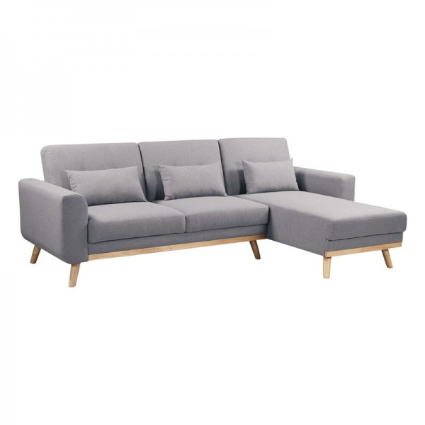 BACKER Καναπές - Κρεβάτι Σαλονιού - Καθιστικού Γωνία Αναστρέψιμη Ύφασμα Γκρι